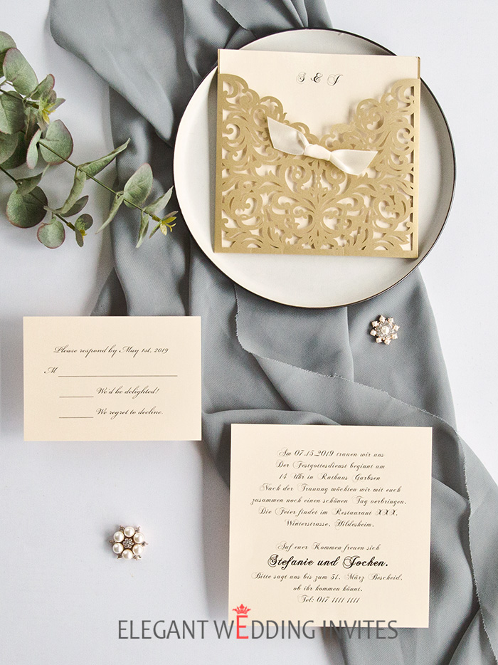 elegant simple chic laser cut wedding invitationsjpg