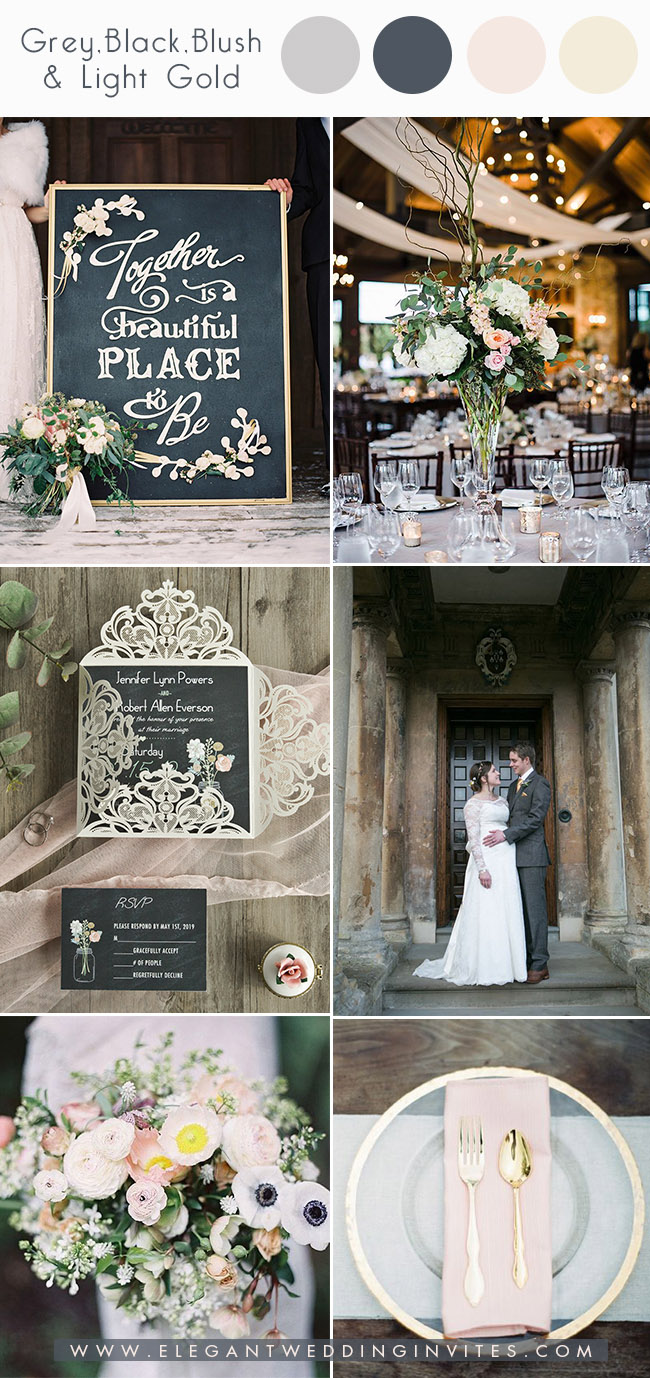 grey black,blush and light gold wedding colors