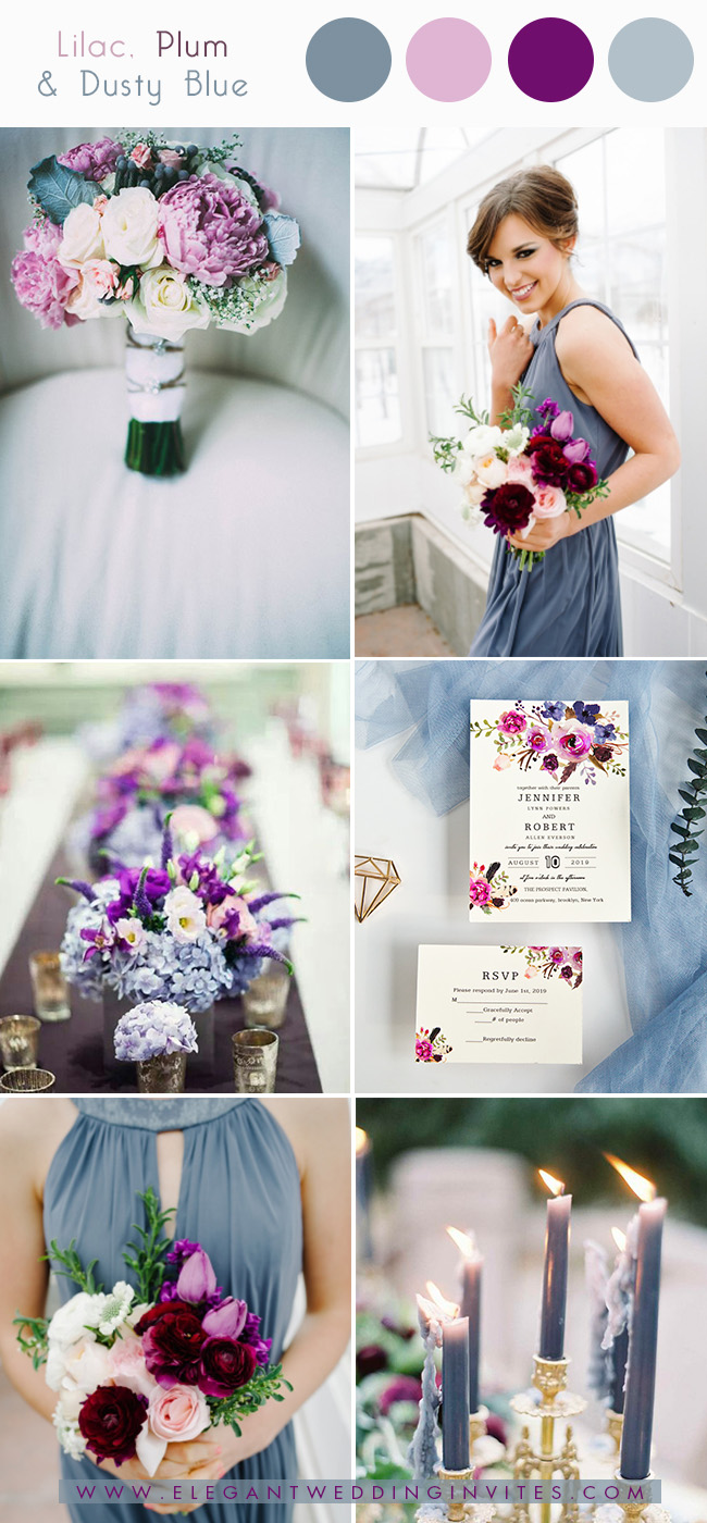lilac,plum and dusty blue vibrant spring wedding colors