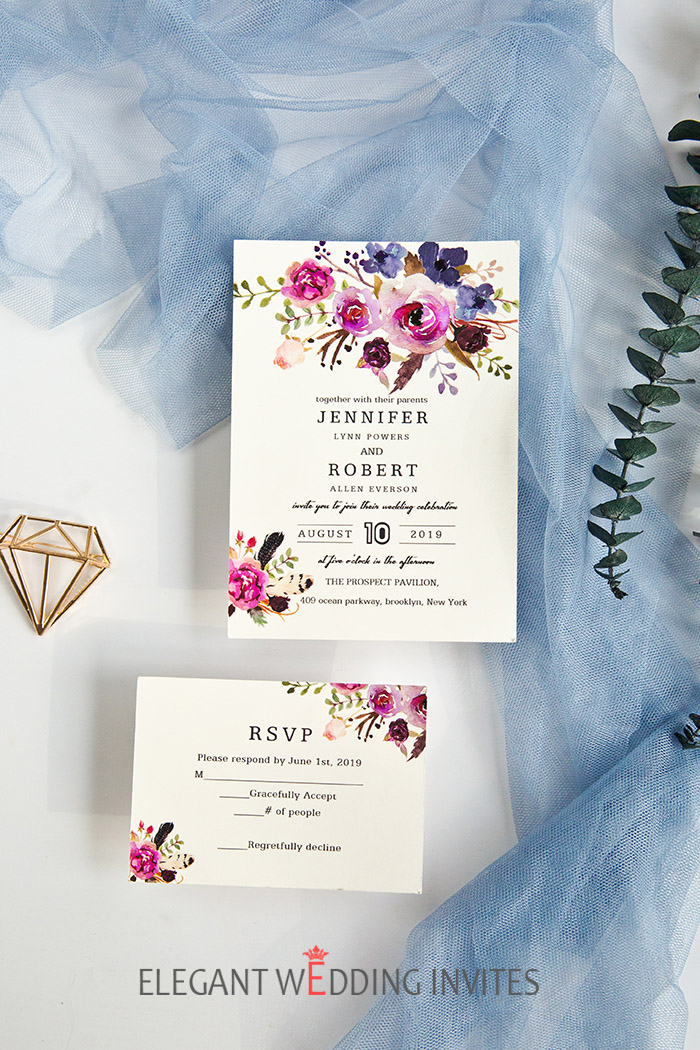 magenta and shades of pink with blue wedding invitation cards