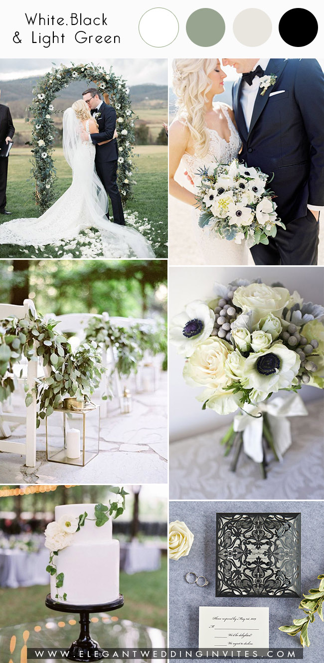 modern chic black and white greenery garden wedding inspiration