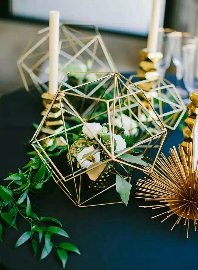 modern geometric domes and greenery wedding centerpieces