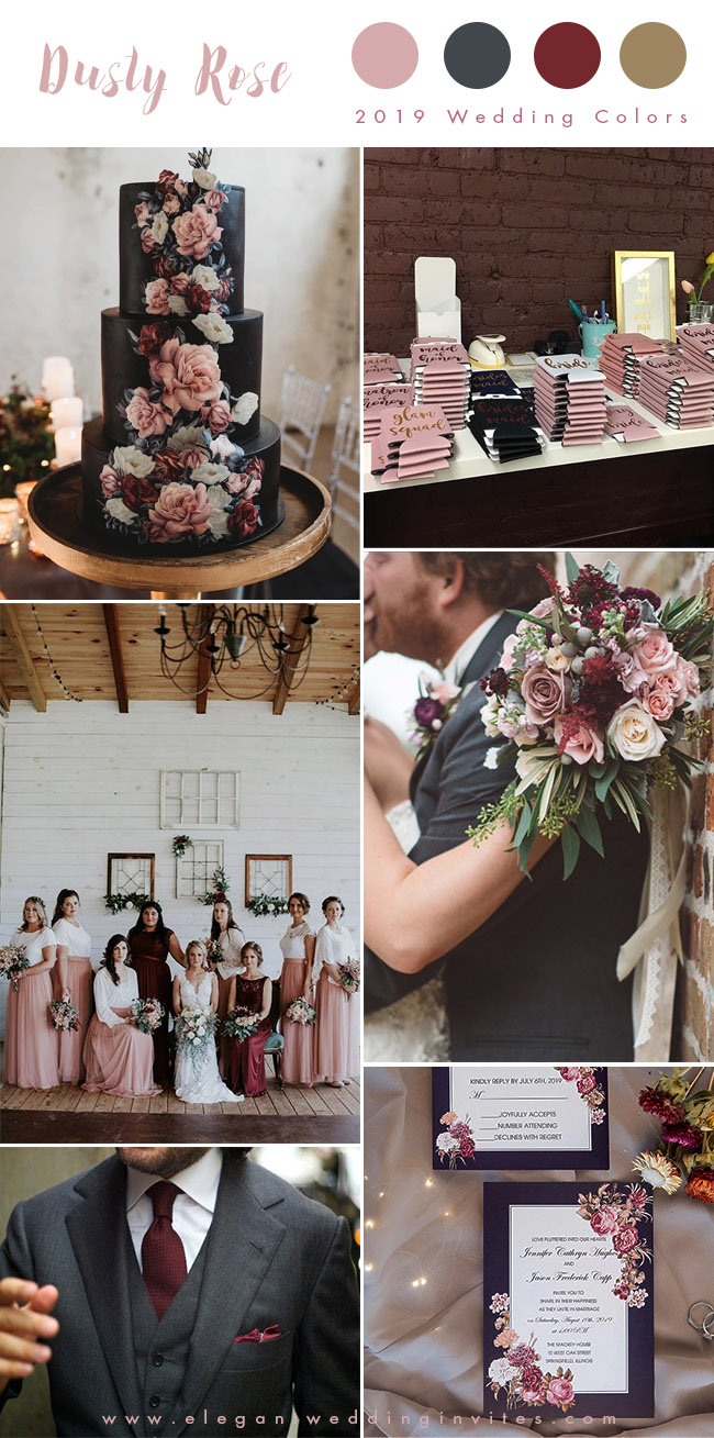 moody dusty rose, burgundy and dark grey fall and winter wedding colors