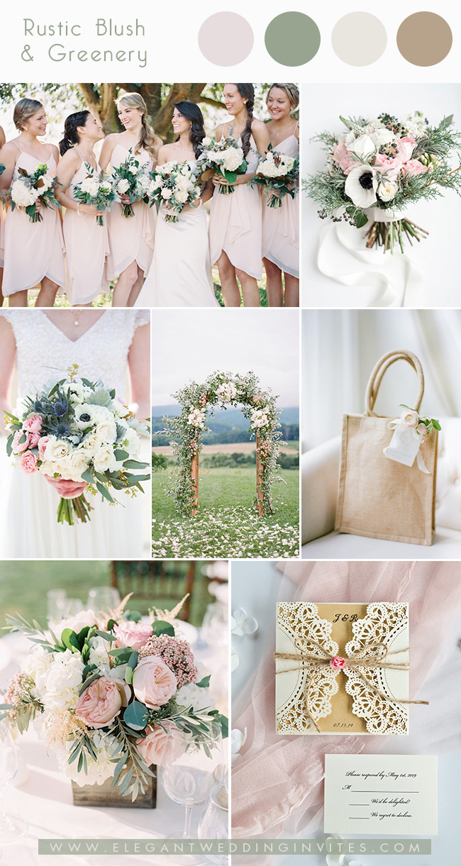 romantic blush and greenery spring wedding colors