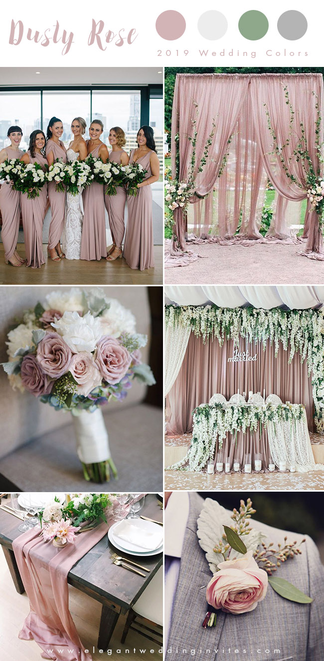 romantic dusty rose, ivory and grey wedding color ideas for 2019