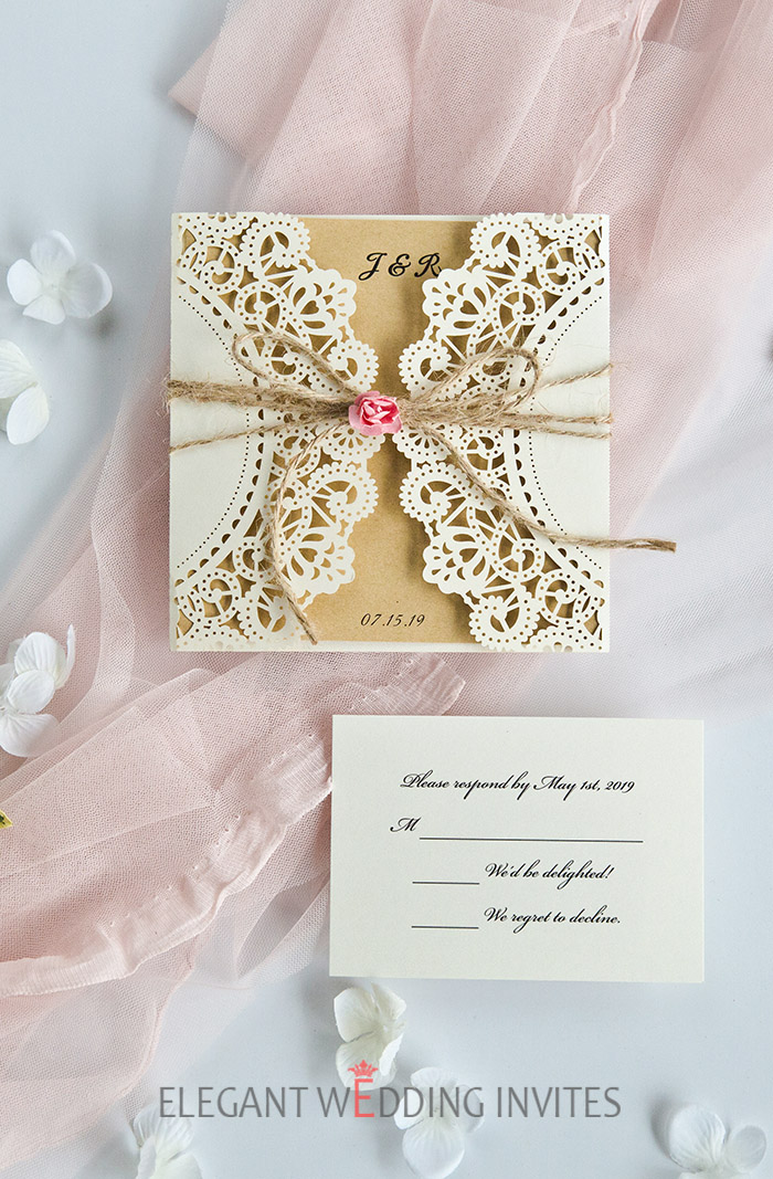 romantic spring rustic laser cut wedding invitation with blush flower