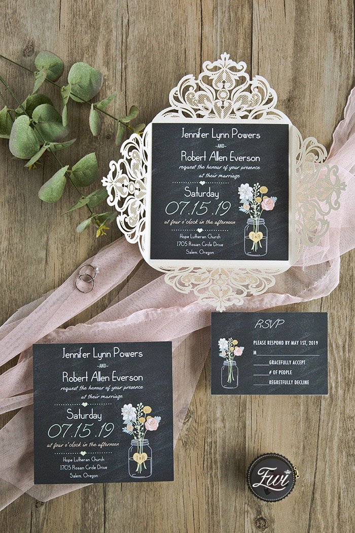 rustic chalkboard laser cut wedding invitation for spring time