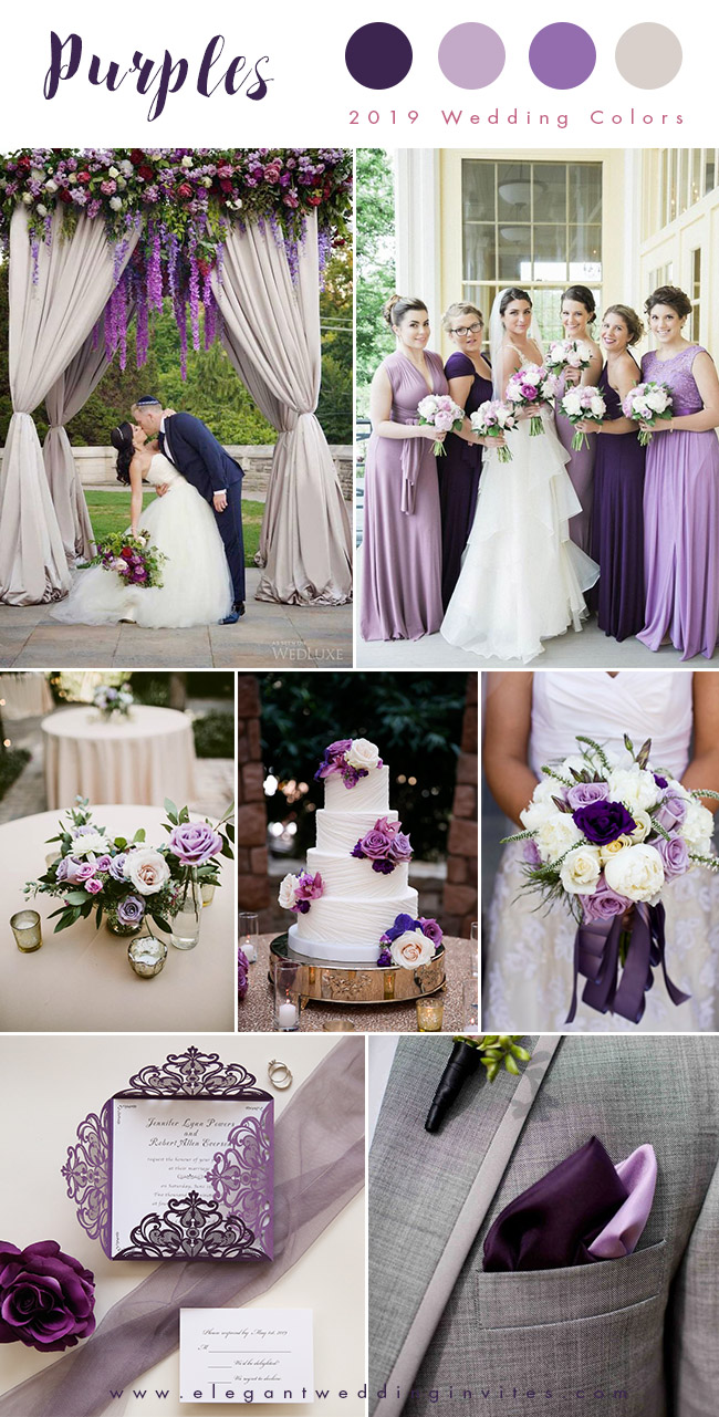 shades of purple and ivory elegant wedding color palettes