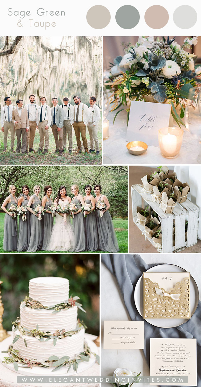 silver sage green and taupe late winter wedding colors