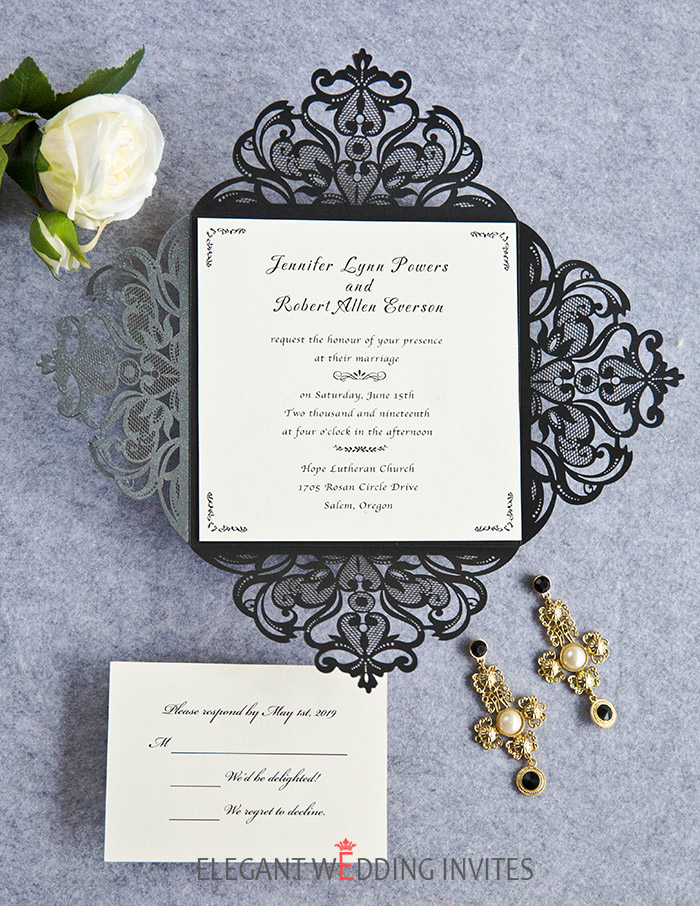 simple elegant black and white laser cut wedding invitations