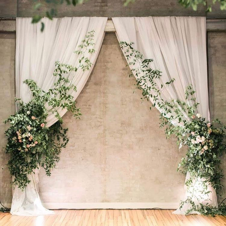 simple romantic white and greenery wedding ceremony backdrop ideas