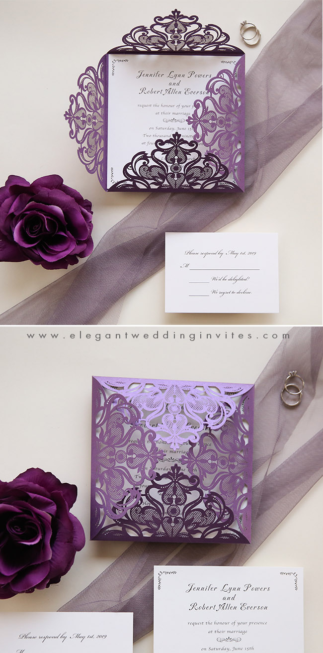 simple stylish plum purple laser cut wedding invitations