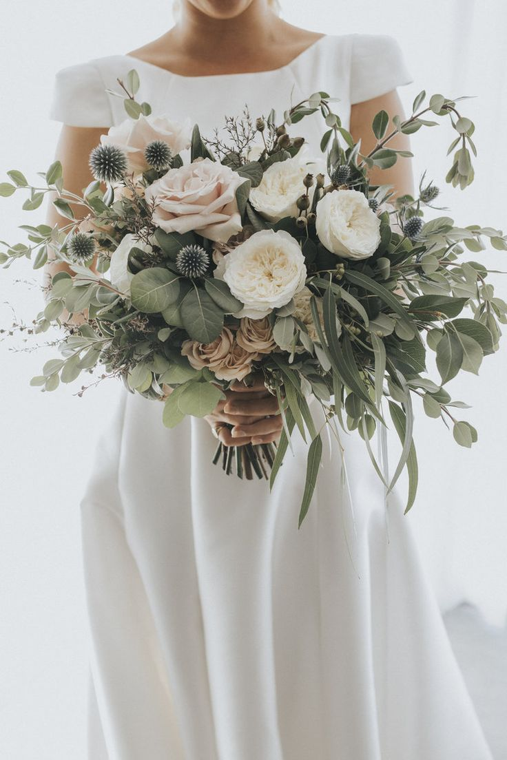 stunning blush greenery wedding bouquets with thistles
