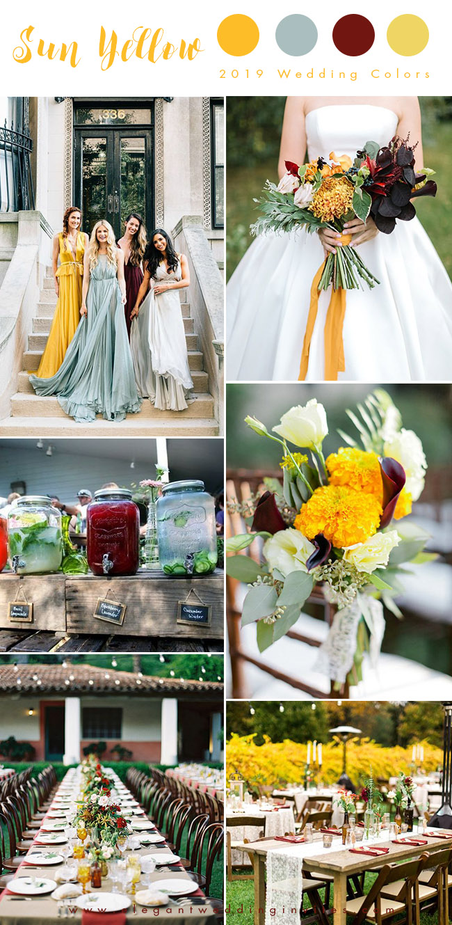 sun yellow,sage green with pops of dark red summer and fall wedding colors