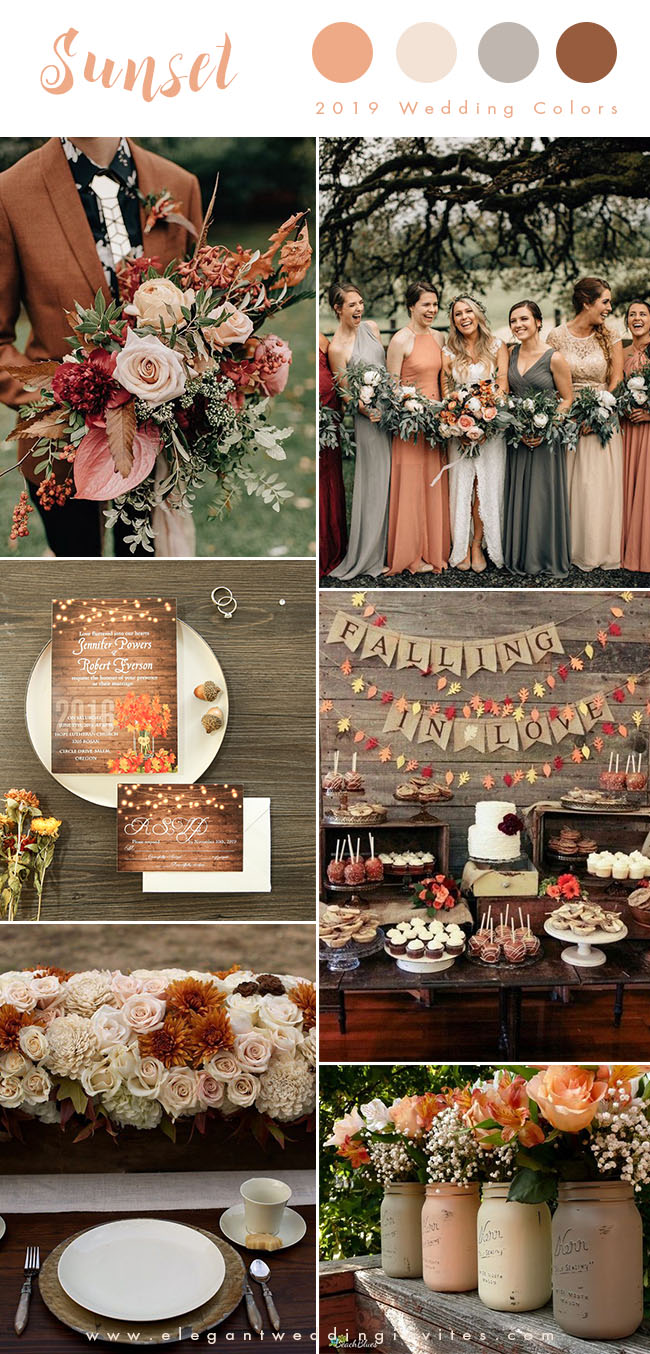 sunset orange, blush and rust brown earthy tone fall wedding colors for 2019