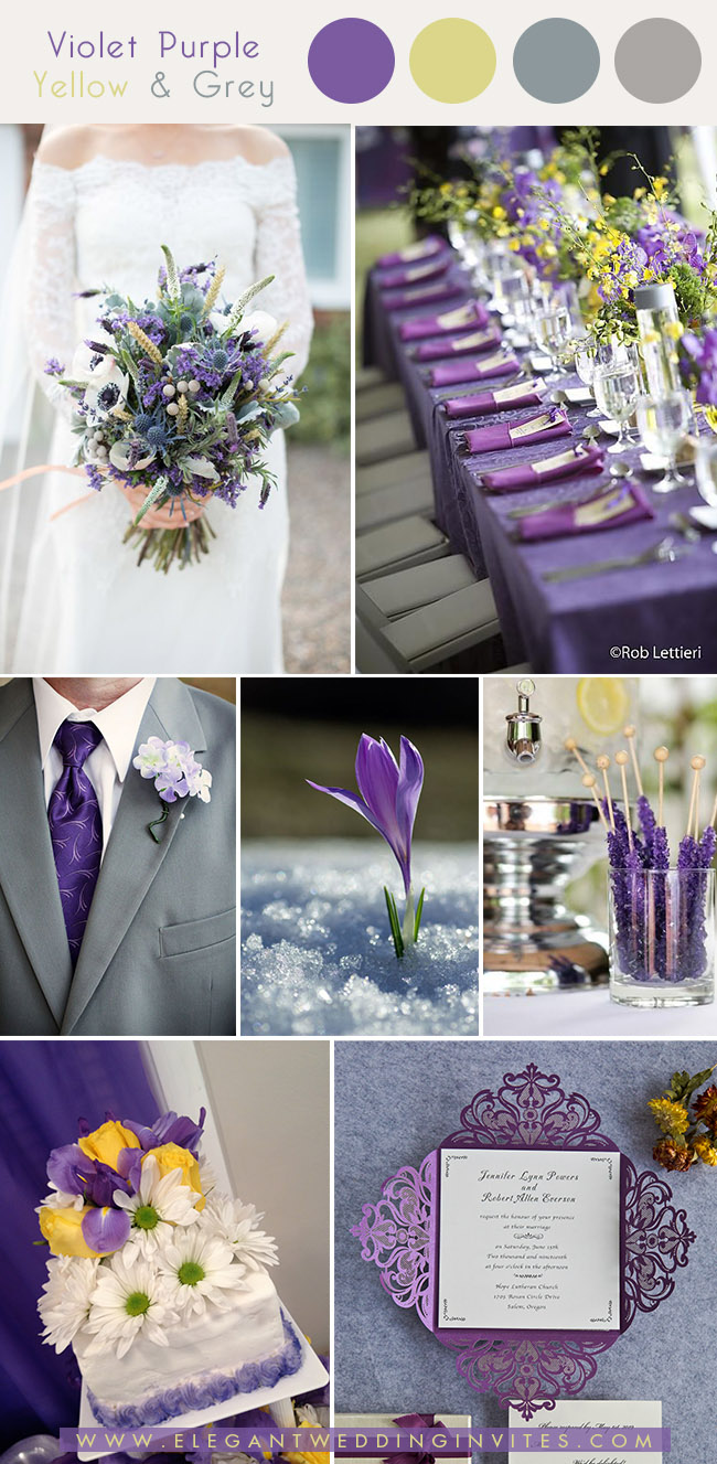 violet purple,light yellow and grey early spring wedding colors