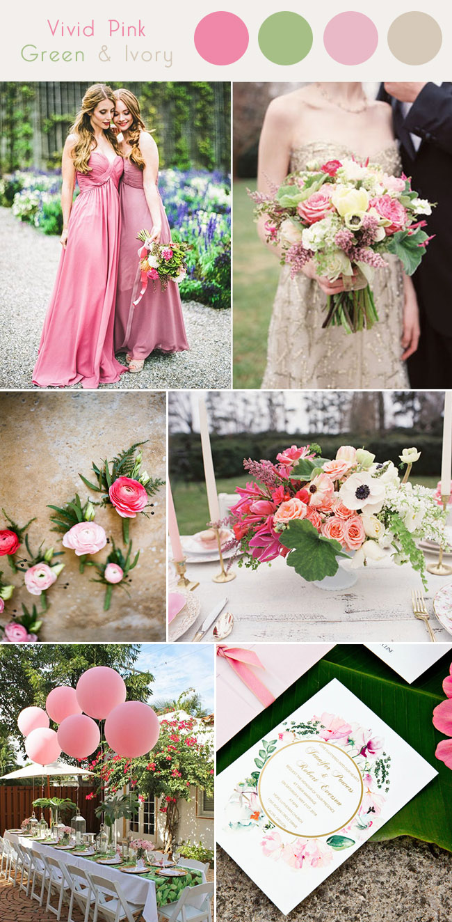 vivid pink, greenery and ivory white spring wedding color palette