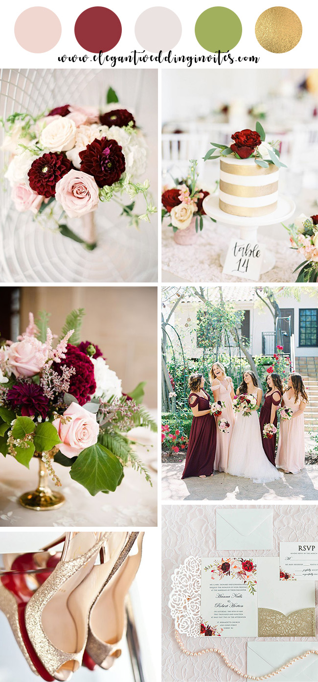 blush,burgundy and gold spring and summer wedding color combos