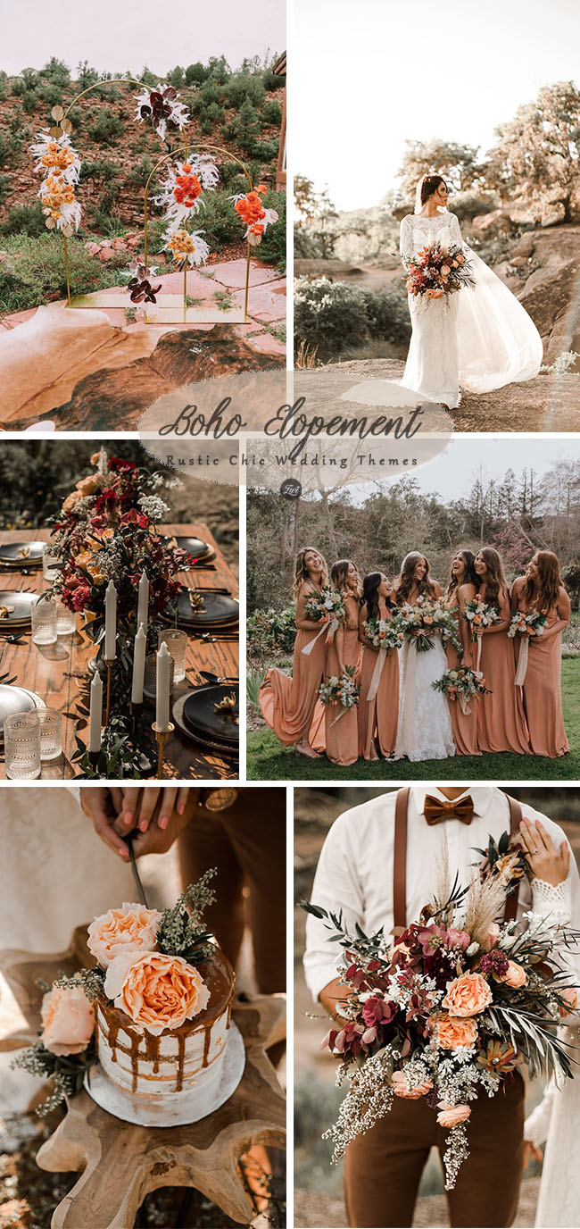 bohemian dessert elopement rustic chic wedding inspiration