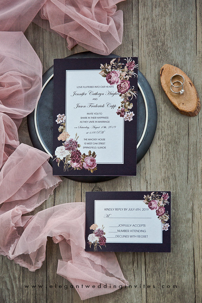 burgundy and dusty rose moody vintage style wedding invitations
