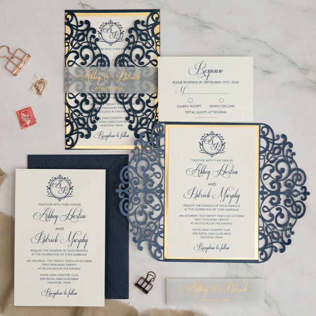 classic customizable monogram blue wedding invitation ewws292 1
