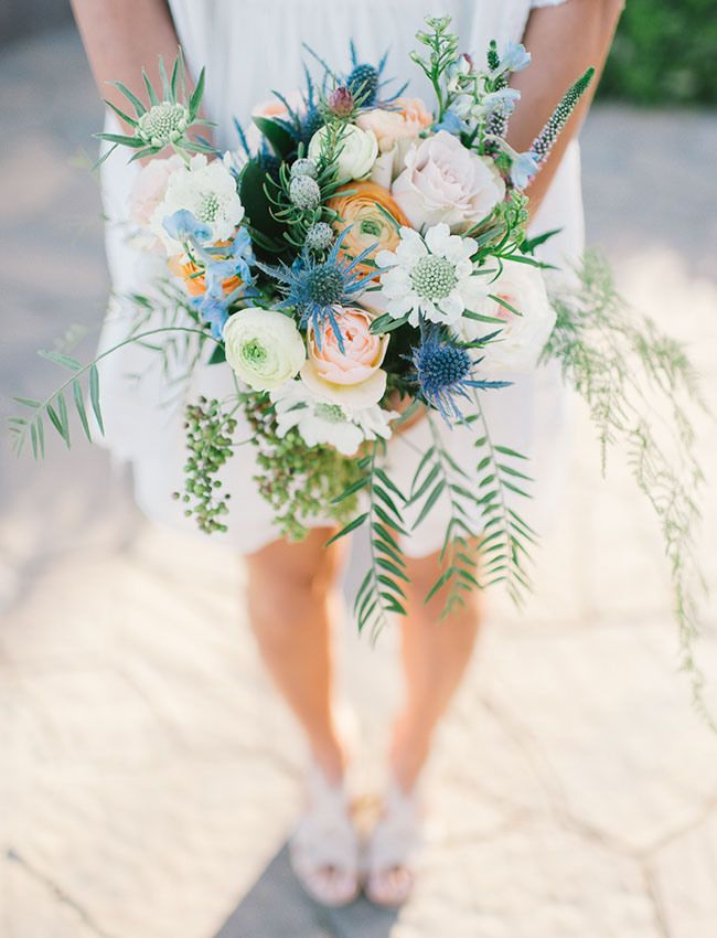 dusty blue and peach pink wedding bouquets