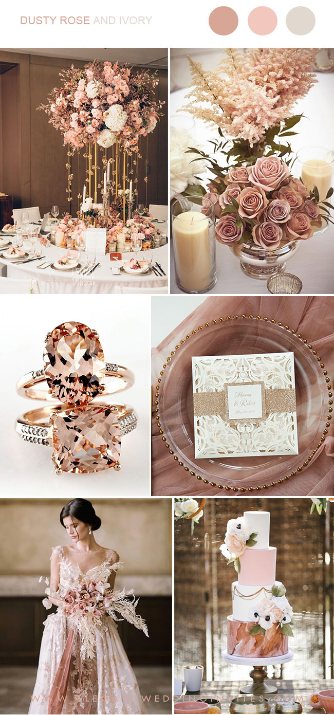 Dusty Rose Gold And Ivory Luxury Wedding Party Ideas