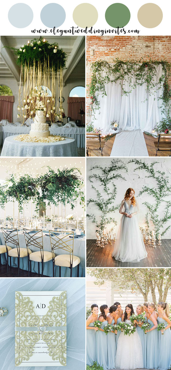 elegant light blue,white and champagne gold greenery wedding party ideas