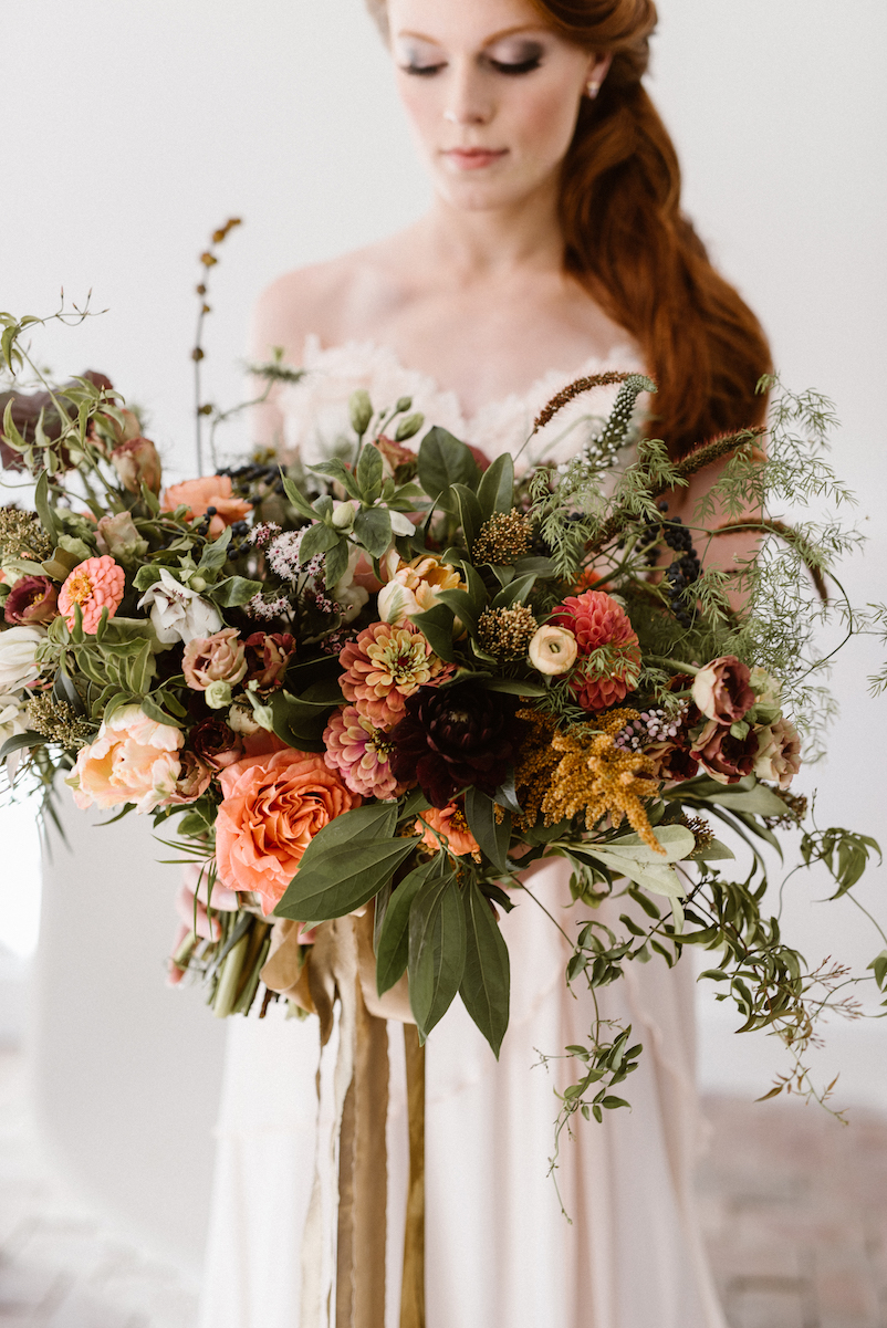 giant and unique red orange and olive color green elopement wedding bouquets