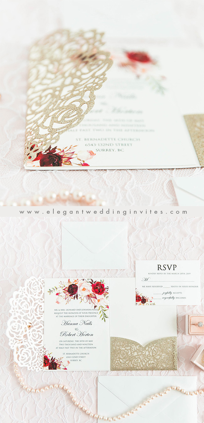 glitter gold laser cut wrap wedding invitation with burgundy and blush inner card