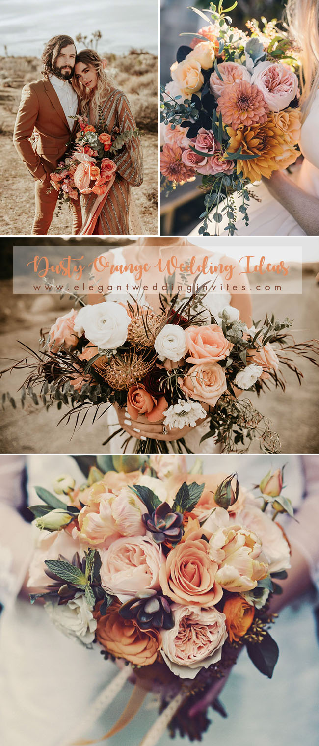 gorgeous dusty red orange wedding bouquets ideas