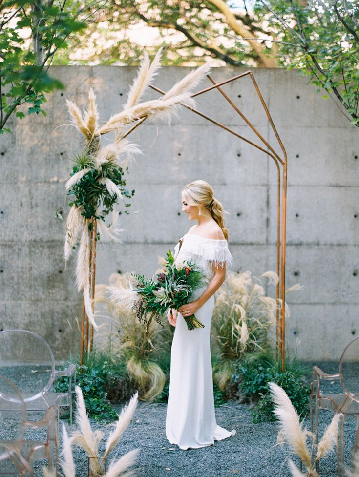 industrial geometric and pampas wedding arch ideas