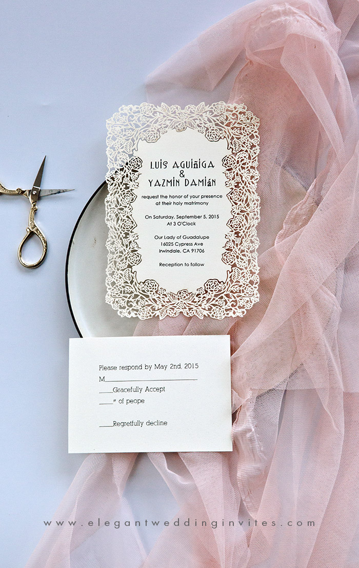 ivory white laser cut wedding invitation cards