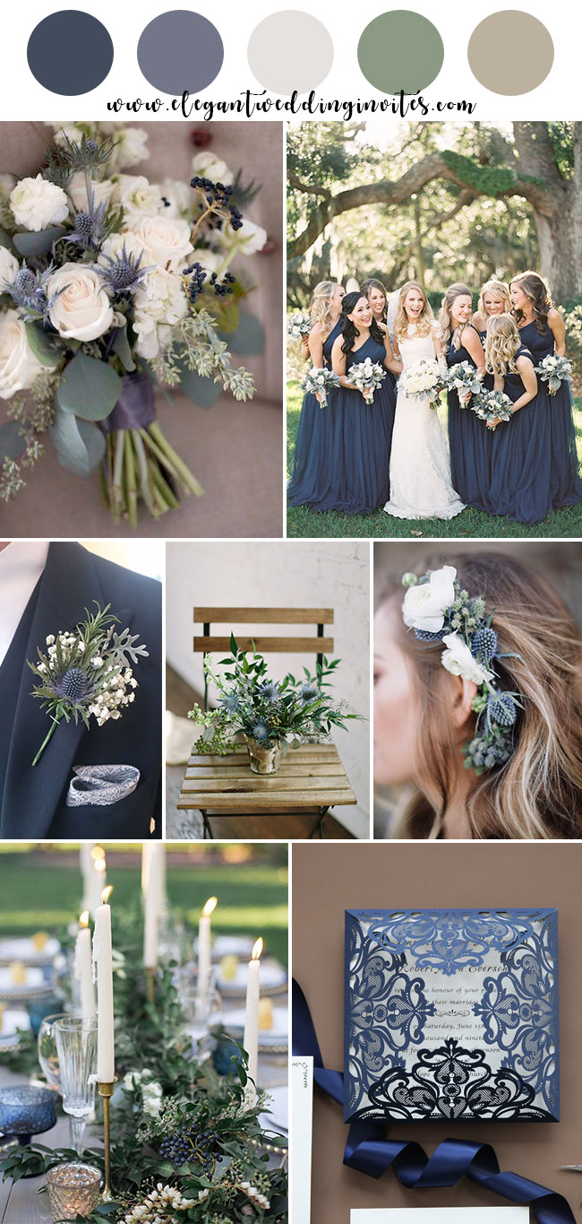 navy, thistle blue and greenery garden wedding color ideas