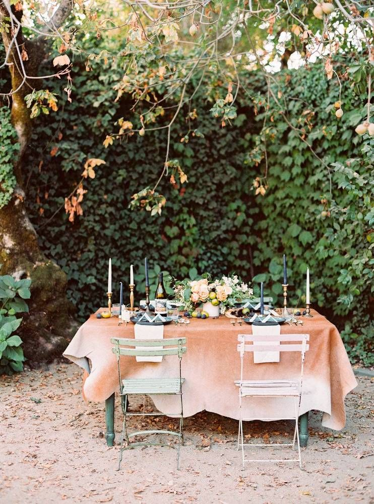 orange and blue bohemian rustic wedding table settings