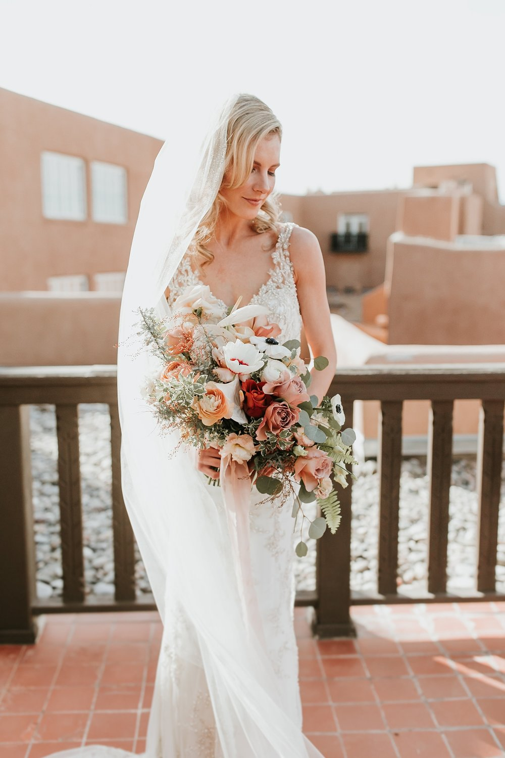 orange and dusty rose floral wedding bouquets
