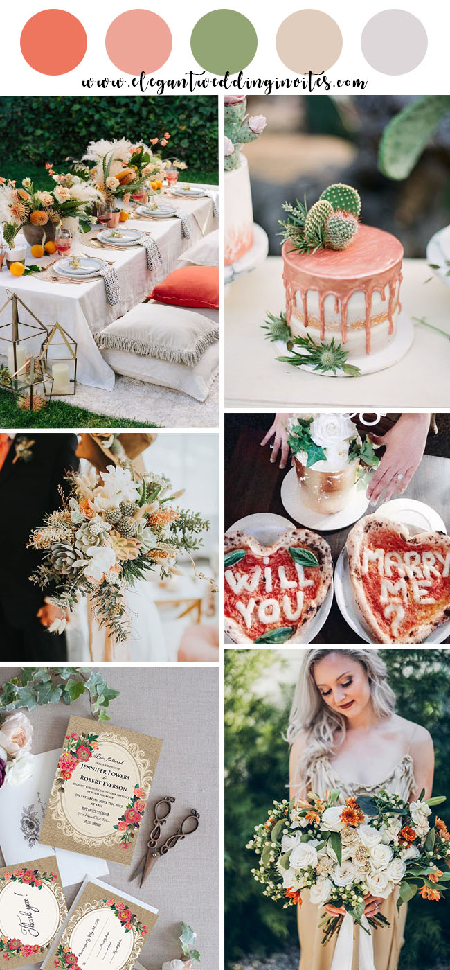 peach pink and greenery summer wedding colors