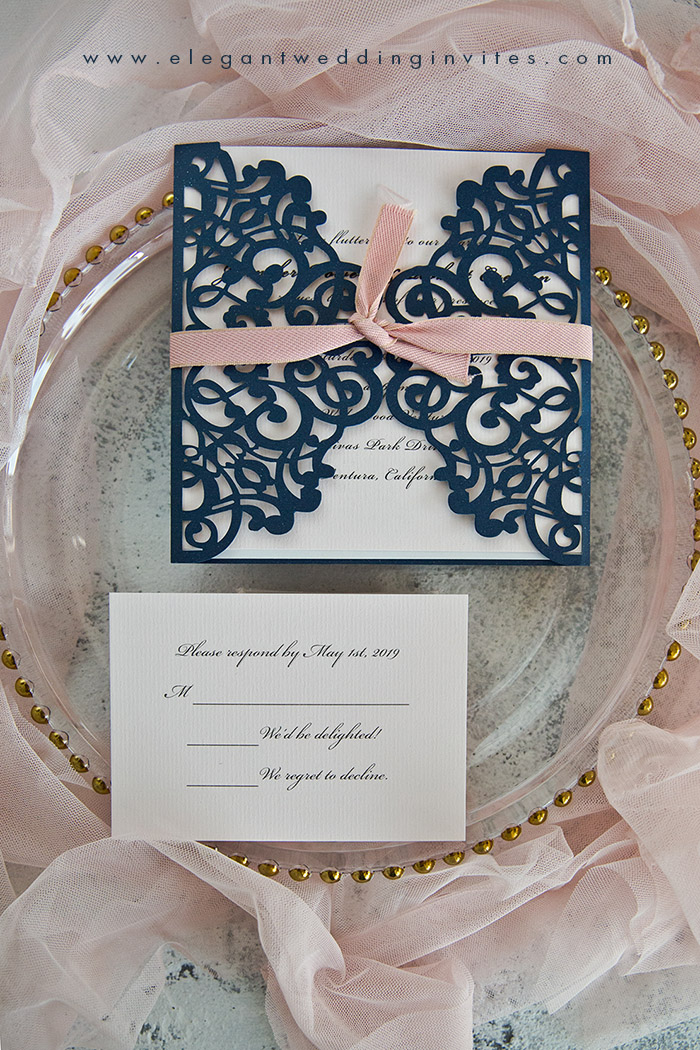 pink and navy simple laser cut wedding invitations
