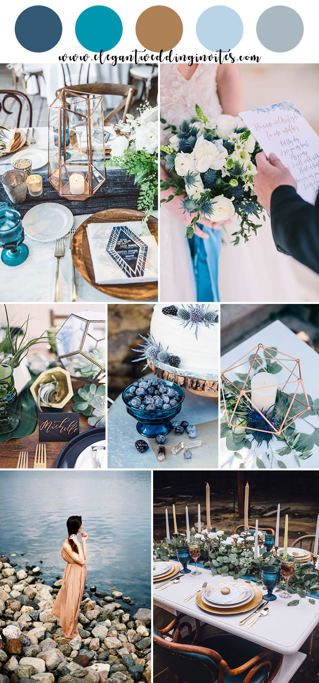 romantic modern indigo blue and copper wedding colors