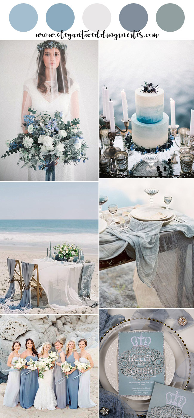 romantic ocean blue and sage green beach wedding colors