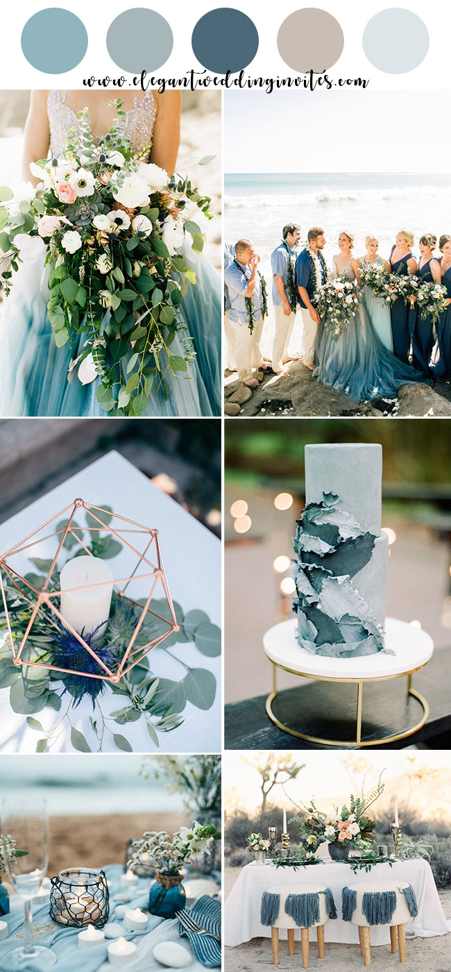 romantic shades of blue summer beach wedding color ideas