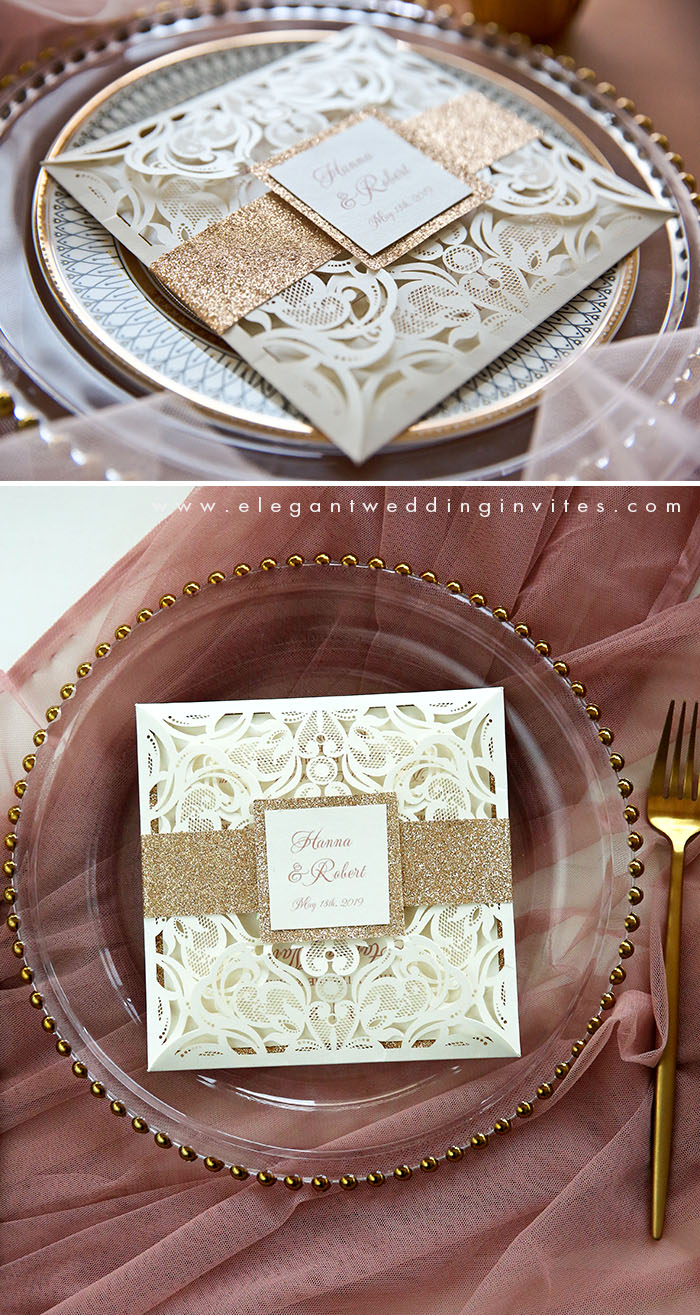 rose gold and ivory luxury laser cut wedding invitations