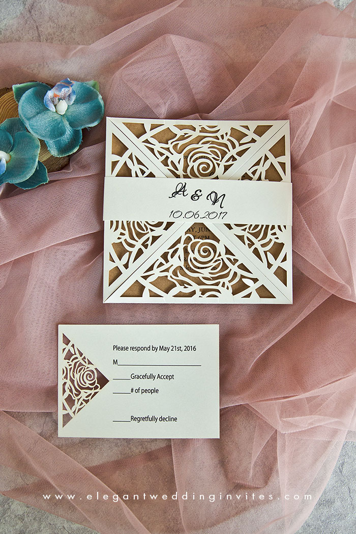 rustic chic laser cut wedding invitation suit