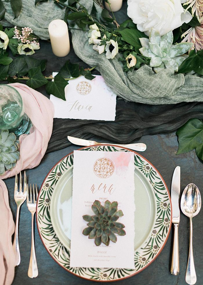 sage, forest green and blush with gold wedding table setting ideas
