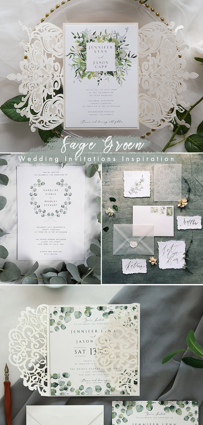 sage green wedding invitaion inspiration ideas for 2019 color trends