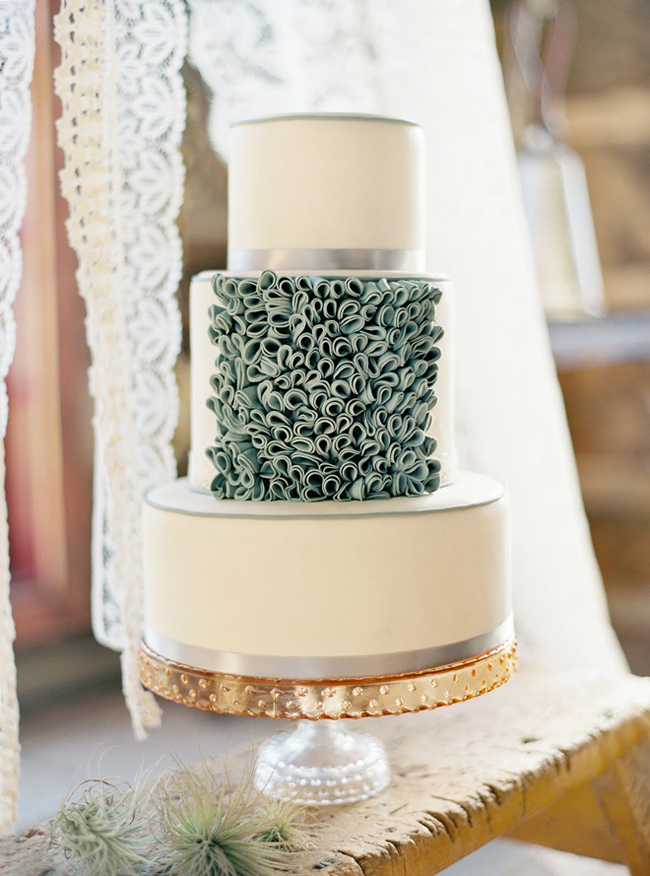 sage green, white and gold wedding cakes