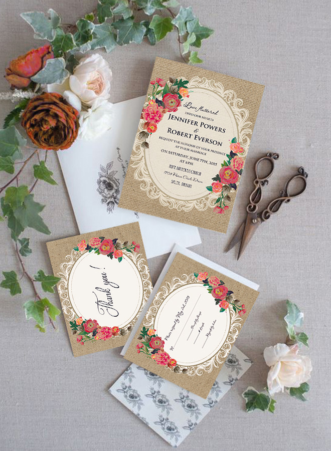 shabby chic vintage lace and orange floral wedding invitations