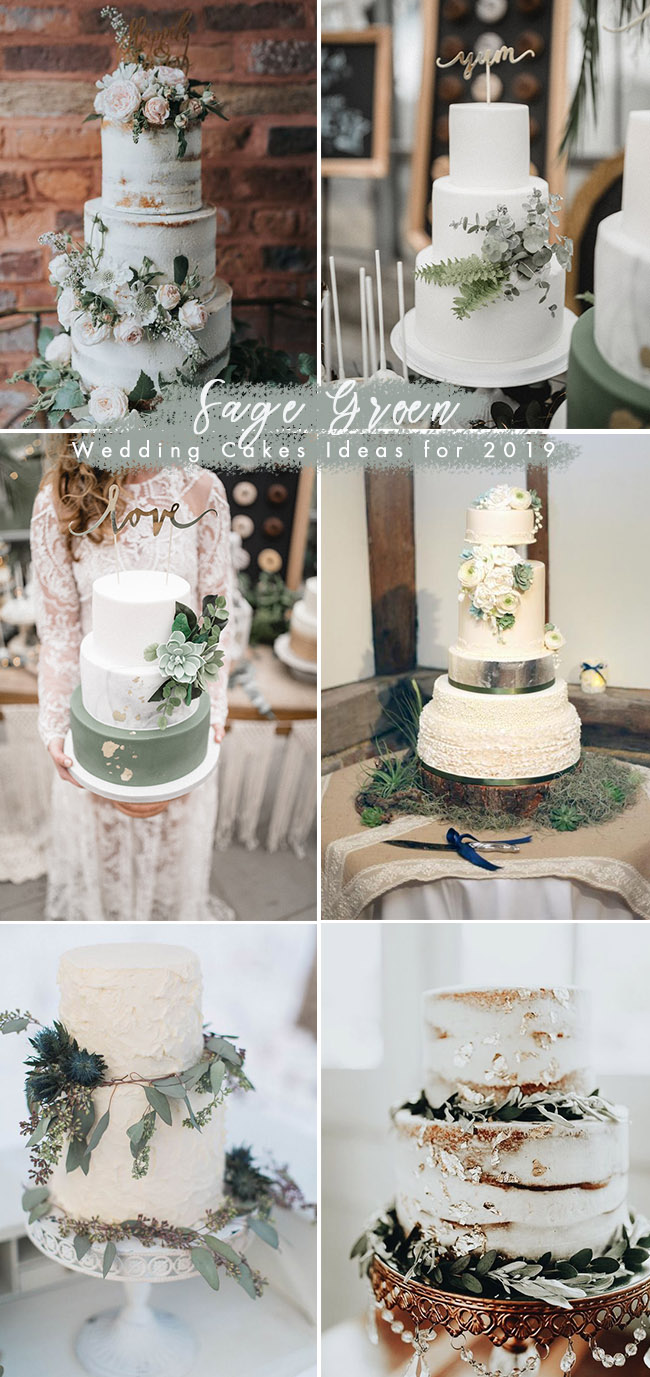 silver sage green wedding cake ideas for 2019