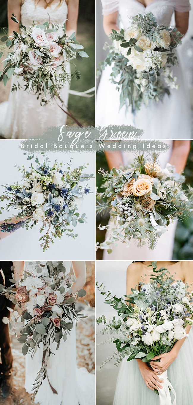trending sage green bridal wedding bouquets ideas