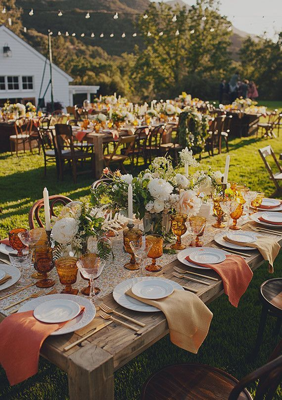 vibrant orange and green fall wedding table setting ideas